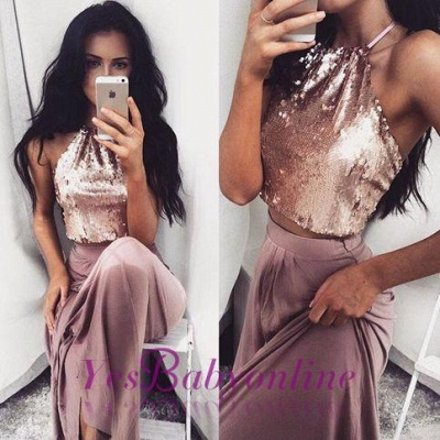 Sequins Sleeveless Two-Piece Glossy Long Halter-Neck Prom Dresses_1