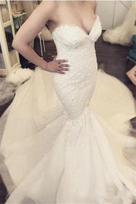 Floral Luxurious Strapless Ruffles Sleeveless Open-Back Detachable-Train Mermaid Wedding Dress_3