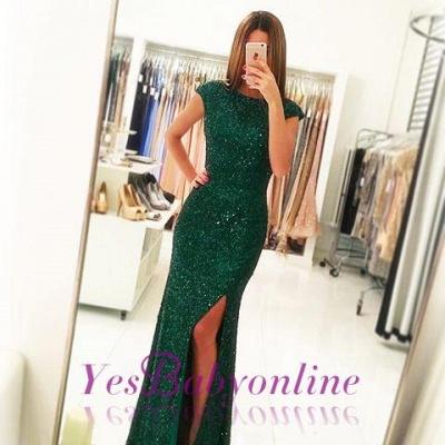 Sexy Backless Floor-length Sequins Sheath-Column Green Evening Dress_4