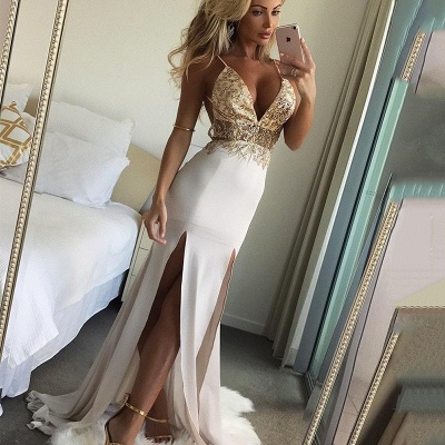 Shiny Beading Spaghetti Straps Evening Dresses | Sexy Deep V-Neck Mermaid Prom Dresses_3