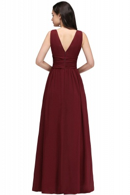 V-Neck Burgundy Ruched  A-line Evening Dresses_7