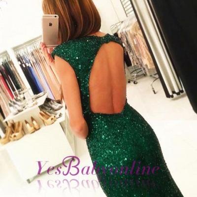 Sexy Backless Floor-length Sequins Sheath-Column Green Evening Dress_3