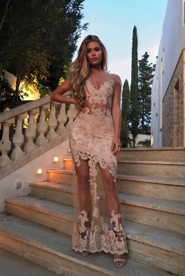 Sexy Sheer Lace Evening Gowns Champagne Floor Length Prom Dress_1