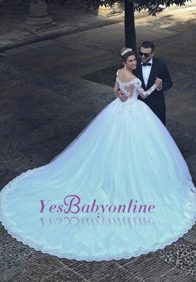 Lace Princess Ball Gown Tulle Beadings Appliques Long Sleevess Glamorous Wedding Dresses_1