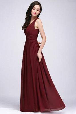 V-Neck Burgundy Ruched  A-line Evening Dresses_8