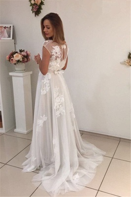 Short-Sleeves Sweep-Train Tulle A-Line Newest Appliques Prom Dress_3