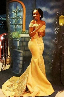Yellow Mermaid Beading Prom Dresses Off-the-shoulder Long Evening Gowns_2