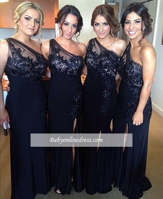 Blue One-shoulder Sheath-Column Sexy Lace Split-front Evening Dress_1