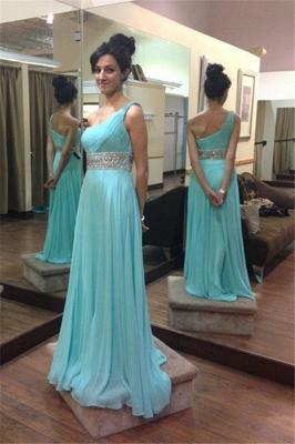 Empire  Beading One-Shoulder Long Sleeveless Prom Dresses_2