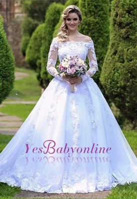 Gorgeous Princess Long Sleeves Zipper Lace Wedding Dress with Button_1