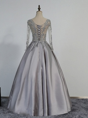 A-line Long-Sleeve Modest Lace-Appliques Beading Prom Dress_3