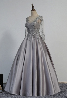 A-line Long-Sleeve Modest Lace-Appliques Beading Prom Dress_4