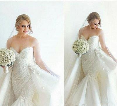 Floral Luxurious Strapless Ruffles Sleeveless Open-Back Detachable-Train Mermaid Wedding Dress_4
