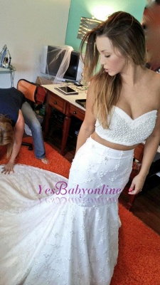 Sexy Two-Piece Sweetheart Beading Mermaid Lace Wedding Dresses_1