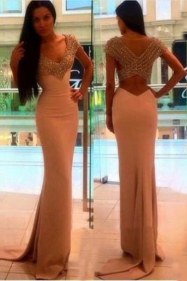Sexy Crystal Sheath V-Neck Short-Sleeves Prom Dress_2