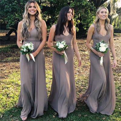 Simple Sleeveless Floor Length V-neck Chiffon Bridesmaid Dresses_3