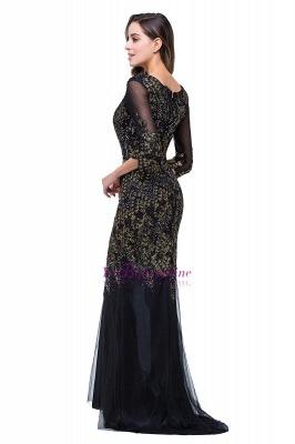 Black Appliques Scoop Mermaid Sleeves Prom Dresses with Beadings_1