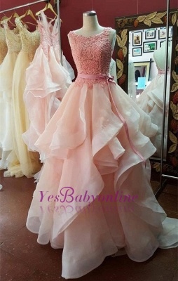 Organza Pearl-Pink Tiered Hot A-Line Open-Back Lace Prom Dresses_1