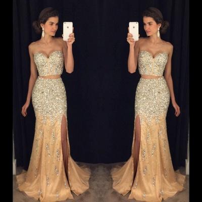 Luxury Crystal Sweetheart Two-Pieces Side-Slit Mermaid Prom Dress_3