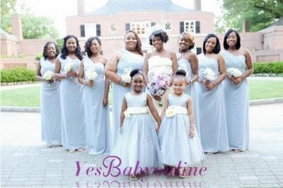 A-line Long Newest One-shoulder Chiffon Sleeveless Bridesmaid Dress_1