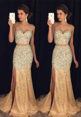 Luxury Crystal Sweetheart Two-Pieces Side-Slit Mermaid Prom Dress_2