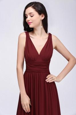 V-Neck Burgundy Ruched  A-line Evening Dresses_10
