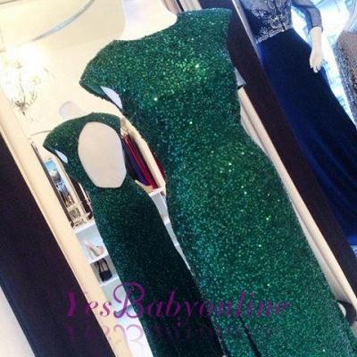 Sexy Backless Floor-length Sequins Sheath-Column Green Evening Dress_1