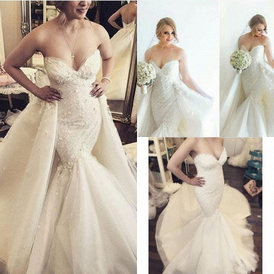 Floral Luxurious Strapless Ruffles Sleeveless Open-Back Detachable-Train Mermaid Wedding Dress_5