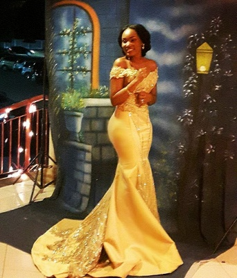 Yellow Mermaid Beading Prom Dresses Off-the-shoulder Long Evening Gowns_3