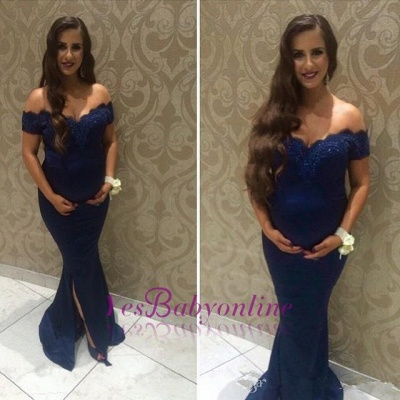 Beads Maternity Front-split Lace Sweep-Train Off-the-shoulder Newest Prom Dress_1