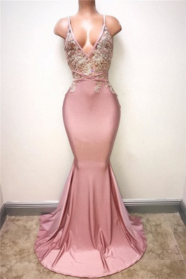 Delicate Pearl Pink Prom Dresses Lace Appliques Spaghettis Straps Evening Gowns_2