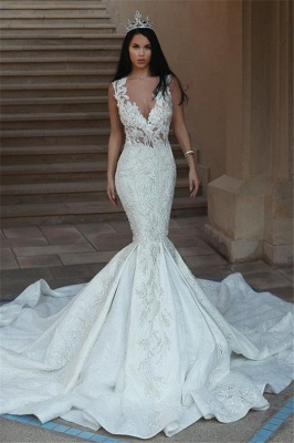 Glamorous V-Neck Sleeveless Wedding Dresses | Mermaid Lace Bridal Gowns with Buttons BA9550