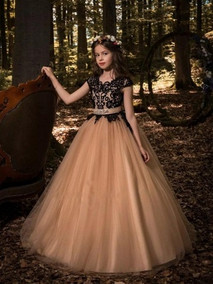 A-Line Flower Girl Dresses | Scoop Cap Sleeves Lace Tulle Pageant Dresses