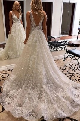 Attractive Straps Deep V Neck Backless Sequined Applique A line Wedding Dresses_2
