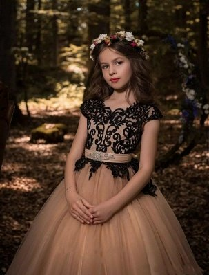 Cute A-Line Flower Girl Dresses | Scoop Cap Sleeves Lace Tulle Pageant Dresses_4