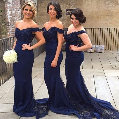Elegant Blue Off the Shoulder Lace Wedding Party Dress Mermaid Sweep Train Bridesmaid Dresses_1