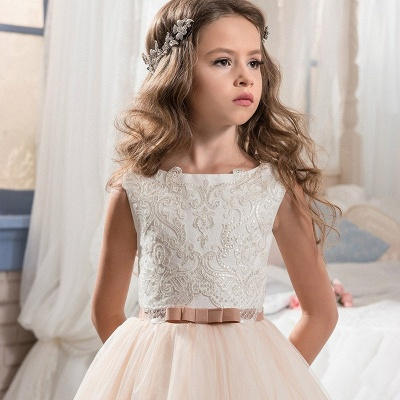 Jewel Sleeveless Lace Tulle Belted Pink Lovely Flower Girl Dresses