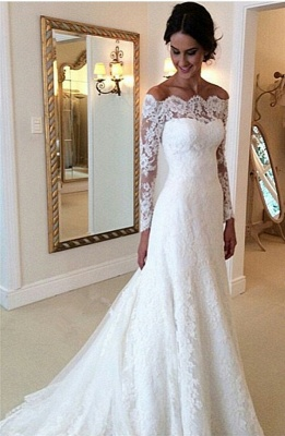 Lace Off-the-Shoulder Long Sleeves Glamorous A-line Wedding Dresses_2