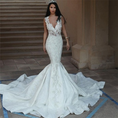 Glamorous V-Neck Sleeveless Wedding Dresses | Mermaid Lace Bridal Gowns with Buttons BA9550_4