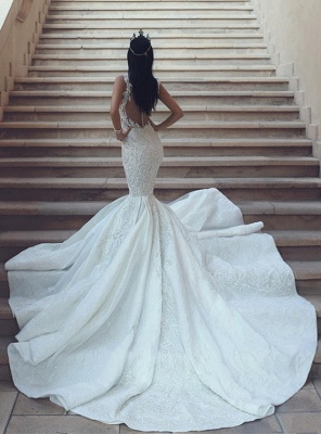 Glamorous V-Neck Sleeveless Wedding Dresses | Mermaid Lace Bridal Gowns with Buttons BA9550_3