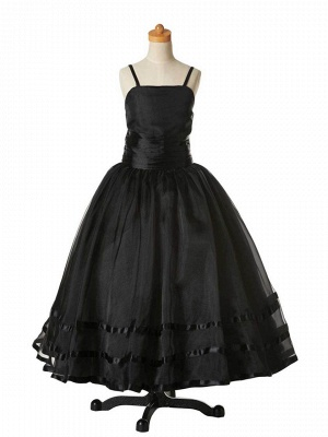 A-Line Organza Spaghetti Straps Flower Girl Dress