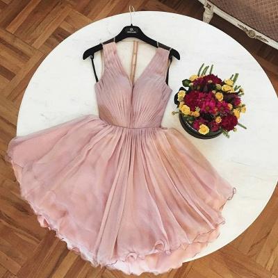 A-Line  Homecoming Dresses | V-Neck Straps Ruffles Short Cocktail Dresses_1