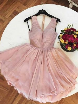 A-Line  Homecoming Dresses | V-Neck Straps Ruffles Short Cocktail Dresses_3