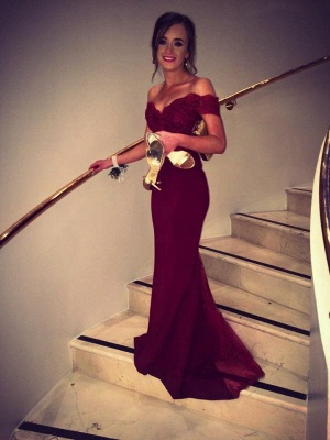 2019 Burgundy Mermaid Prom Dresses Off-the-Shoulder Lace Beaded Evening Gowns_2