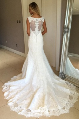 Glamorous Sleeveless  Sexy Mermaid Wedding Dress | Lace Appliques Bridal Gowns_4
