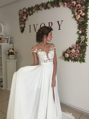 Glamorous Lace Appliques Side Slit A-line Chiffon Beach Wedding Dresses_6