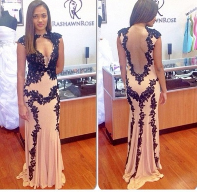 Sexy Nude Mermaid Prom Dresses Capped Sleeves Black Lace Appliques Evening Gowns_3
