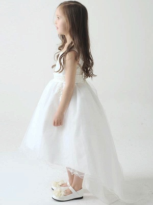 Cute Hi-Lo Lace Tulle Tea-Length Flower Girl Dress with Appliques_3