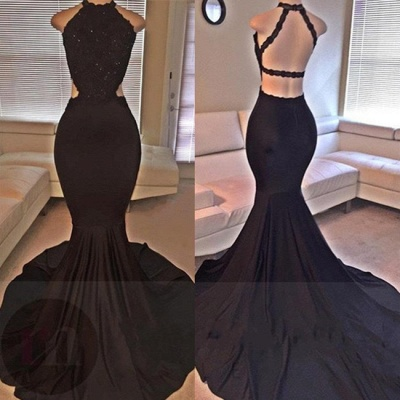 2019 Sexy Mermaid Prom Dresses Lace Beading Straps Backless Evening Gowns_1