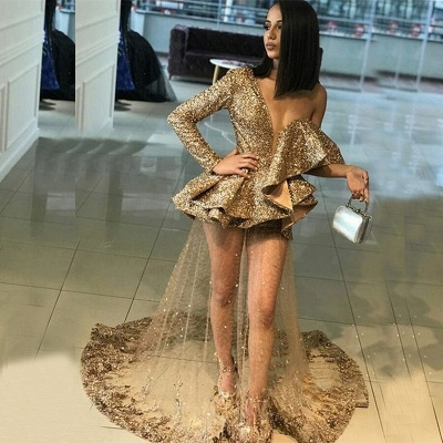 Sexy One Sleeve Evening Gowns | Gold Sheer  Ruffles Prom Dresses_3